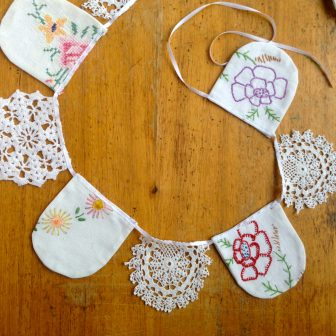 antique doily bunting